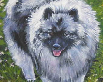 Keeshond art print CANVAS print of LA SHEPARD painting 8x10