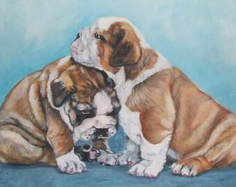 """ENGLISH BULLDOG dog art canvas PRINT of LAShepard painting 12x16"""""""