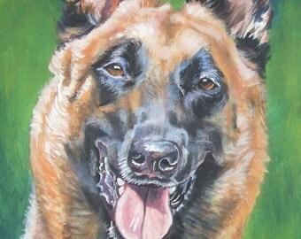Belgian Malinois portrait CANVAS print of LA Shepard painting 12x16 dog art