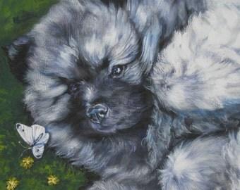 Keeshond puppy dog art canvas print of LA Shepard dog painting 12x16