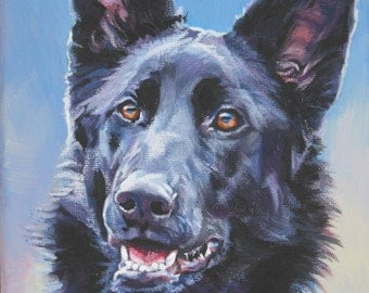 black German Shepherd art CANVAS print of LA Shepard painting 12x16 dog portrait