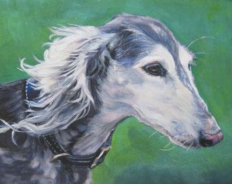 saluki dog art CANVAS print of LA Shepard painting 8x10 dog portrait