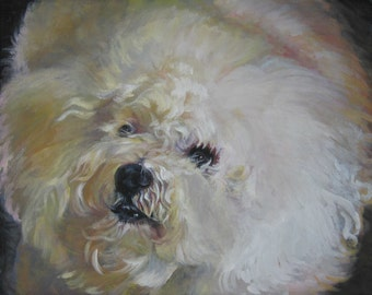 Bichon Frise dog art portrait CANVAS print of LA Shepard painting 8x10
