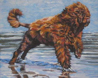 Portuguese Water Dog art CANVAS print of LA Shepard painting 8x10
