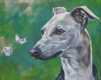 Italian Greyhound dog art CANVAS print of LA Shepard painting 12x16