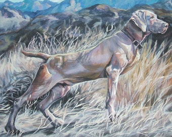 Weimaraner dog art CANVAS print of LA Shepard painting 12x16