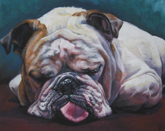 ENGLISH BULLDOG dog art portrait canvas PRINT of LAShepard painting 8x10""