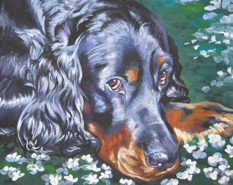 Gordon Setter dog art CANVAS print of LA Shepard painting 8x10 portrait