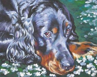 Gordon Setter portrait CANVAS print of LA Shepard painting 11x14 dog art