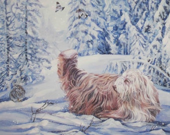 Bearded Collie art CANVAS print of LA Shepard painting 8x10 winter dog art