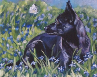 black AUSTRALIAN KELPIE dog portrait art canvas PRINT of LAShepard painting 8x8""