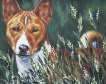 Basenji dog art CANVAS print of LA Shepard painting  12x12 portrait