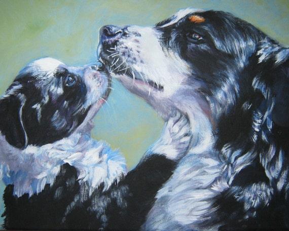 Australian Shepherd dog art CANVAS print of LA Shepard painting 8x10