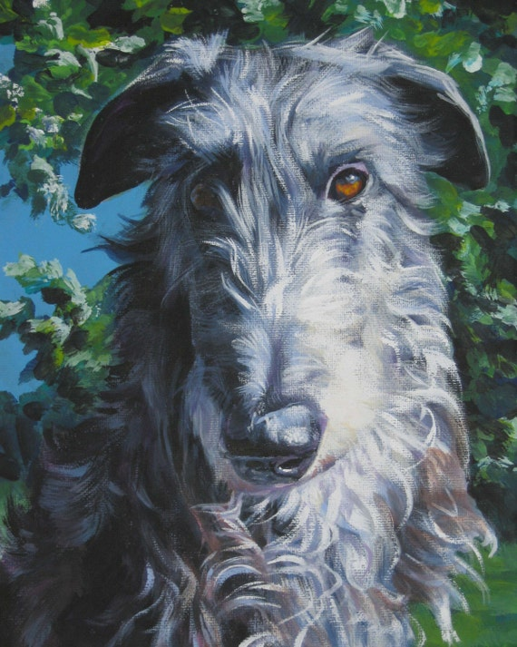 Scottish Deerhound art print CANVAS print of LA Shepard painting 11x14