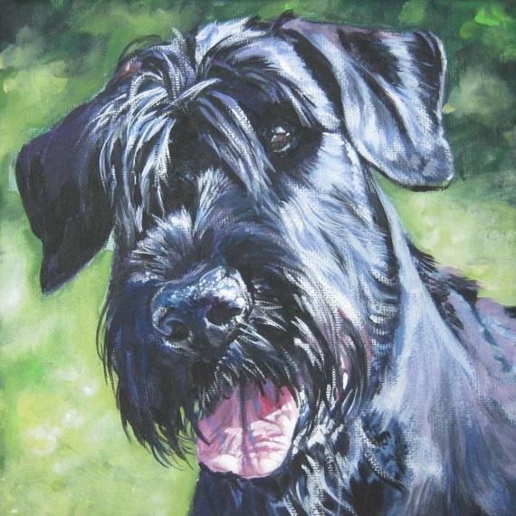 Giant schnauzer dog art portrait CANVAS print of LA Shepard painting 8x8