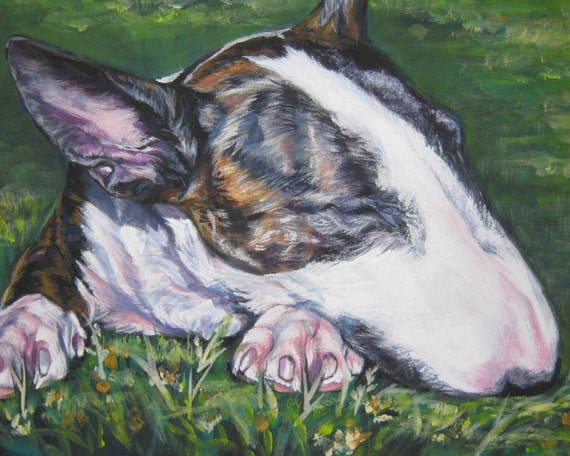 Bull Terrier art CANVAS print of LA Shepard dog painting 8x10 dog portrait