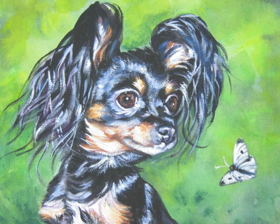 Russkiy russian Toy terrier giclee CANVAS print of LA Shepard painting 8x10