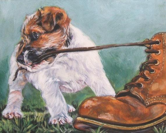 Jack Russell Terrier art print CANVAS print of LA Shepard painting 8x10 dog art