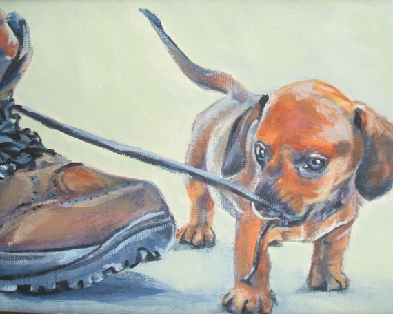 Dachshund art print CANVAS print of LA Shepard painting 8x10 dog art