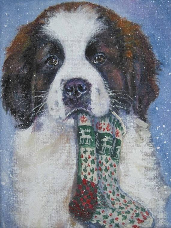 St Saint Bernard art print CANVAS print of LA Shepard painting Xmas dog art 12x16 giclee