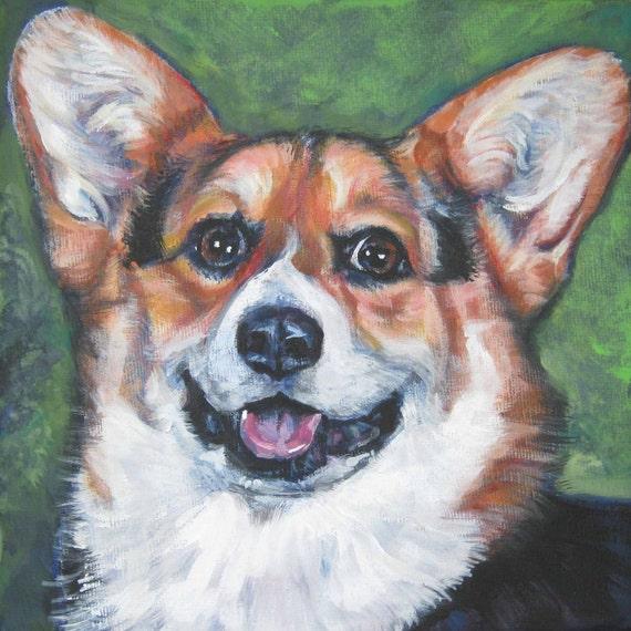 Pembroke Welsh Corgi Dog Art Portrait Canvas Print Of La