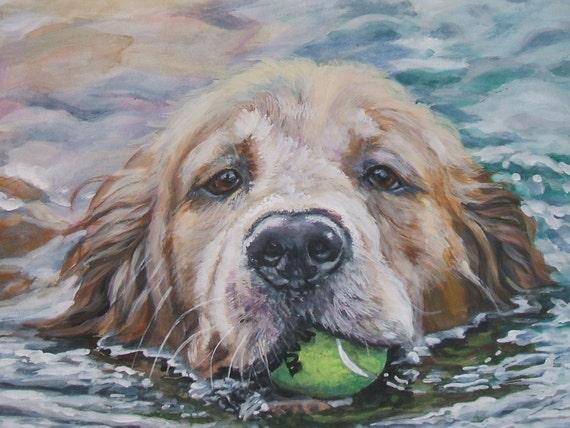 Golden Retriever dog art CANVAS print of LA Shepard painting 12x16 dog portrait