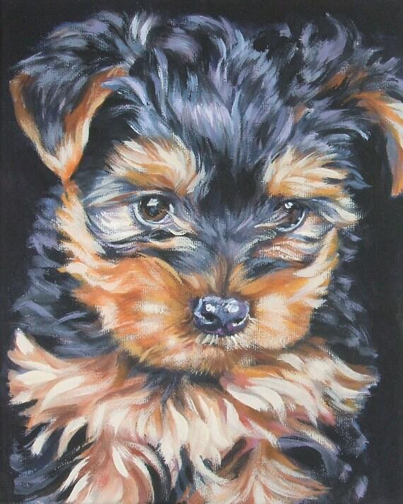 Yorkshire Terrier Yorkie Portrait Canvas Print Of La Shepard