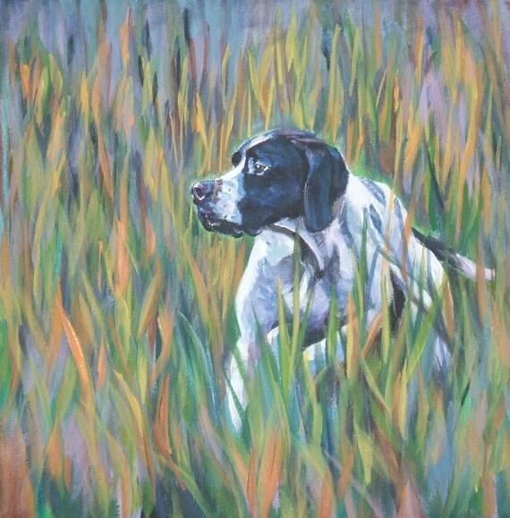 English Pointer dog art CANVAS print of LA Shepard painting 12x12
