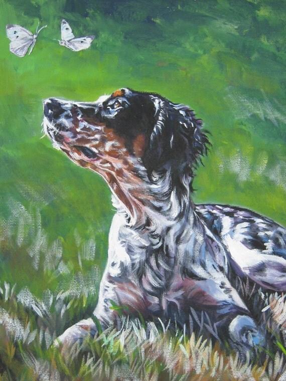 Llewellin English Setter dog art CANVAS print of LA Shepard painting 12x16