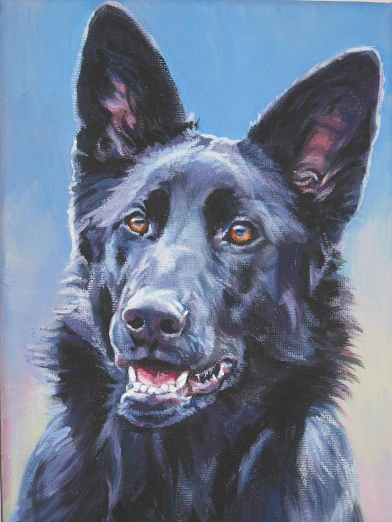 Black German Shepherd Art CANVAS Print Of LA Shepard Painting