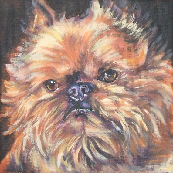 Brussels Griffon dog art CANVAS print of LA Shepard painting 12x12