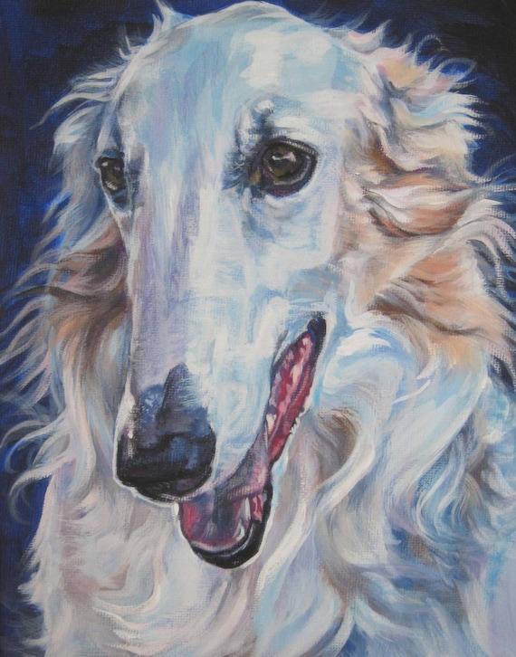 Borzoi painting dog art portrait canvas print of L.A.shepard painting 11x14