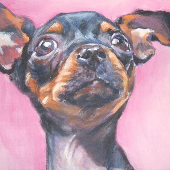 Chihuahua portrait CANVAS print of LA Shepard painting 12x12 dog art