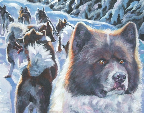 Greenland Dog art CANVAS print of LA Shepard painting 8x10