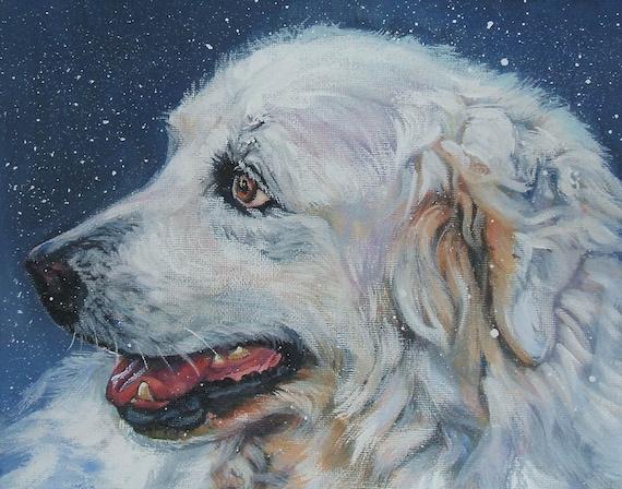 Great Pyrenees dog art CANVAS print of LA shepard painting 11x14 portrait