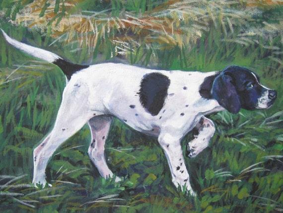 English Pointer dog art CANVAS print of LA Shepard painting 12x16