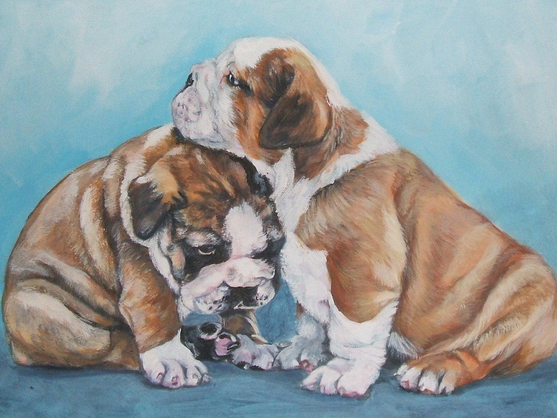 ENGLISH BULLDOG dog art canvas PRINT of LAShepard painting