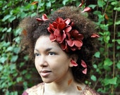 Brown Flower Headpiece, Spring Weddings, Kinky Hair Accessories, Flower Crown, Bridesmaid Headpieces, Natural Hair Care, Natural Hair
