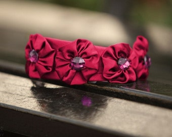 Pink Satin Headband, Spring Headband, Pink Jewel Accessories, Jewel Tones, Girly Hair Accessories, Magenta Headband