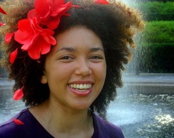 Red Flowers Hairpiece, Garden Party, Handmade Flower Crown, Floral Headpiece, Vacation Wear, Beachwear, Summer Fashion, Red Wedding