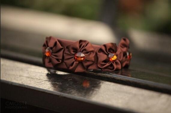 Brown Rosettes Headband, Fashion Hair Accessories, Brown Jewels, Classic Headband, Satin Headbands, Elegant, Autumn Headbands