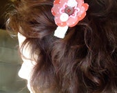 cute barrette red floral buttons
