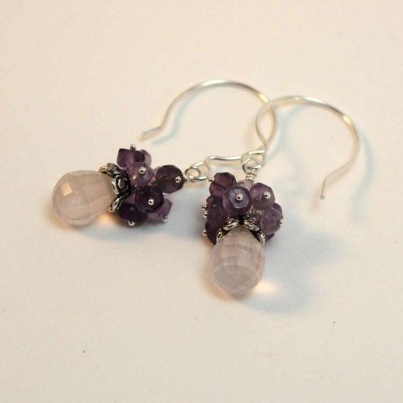 Faceted Amethyst Gemstone Cluster Earrings, Purple Amethyst, Pink Topaz, Rose Quartz, Sterling Silver Hoops