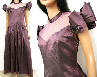 Purple Taffeta 80s Prom Dress - Vintage Long High Collar Lace Mesh Illusion Plum Formal Gown Size Small FREE US Shipping