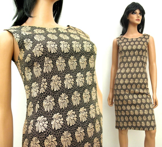 Black Gold Cocktail Dress XXS XS - Vintage 60s Sleeveless Wiggle Cocktail Bombshell Dress Free US Shipping