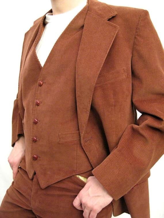 3 Piece Corduroy Suit - Vintage 70s Brown Blazer Vest Pants 42R 32x32 Mens Steampunk Costume FREE US Shipping