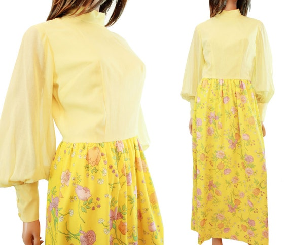 Yellow Flower Child Dress - Vintage 70s Long Floral Cotton Maxi Dress Sz S M Free US Shipping
