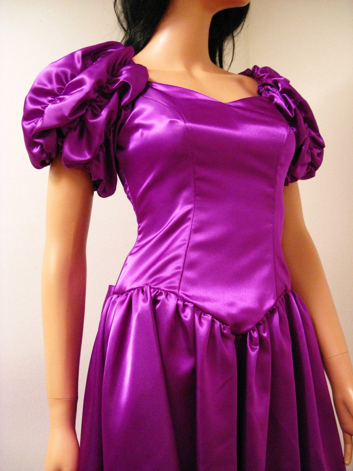 80s Vintage Clothing In The Uk Just Got Easier: Purple Satin 80s Prom Dress Vintage 1980s Long Formal Gown