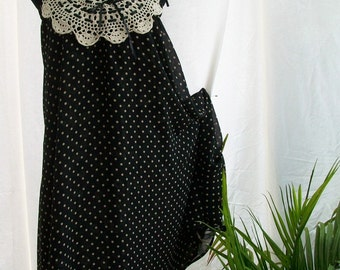 Re-Purposed One of a Kind 2 in 1 Black and Beige Pok a Dot and Floral Sundress/Skirt