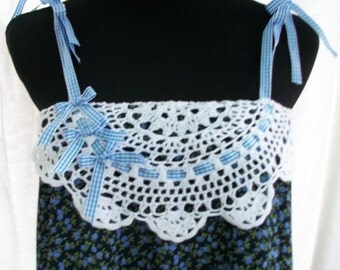 Re-Purposed One of a Kind 2 in 1 Navy with Blue Floral Print Sundress/Skirt with Blue Check Trim